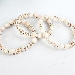 3/$20Just Like Candy White Stone Skull Bracelet